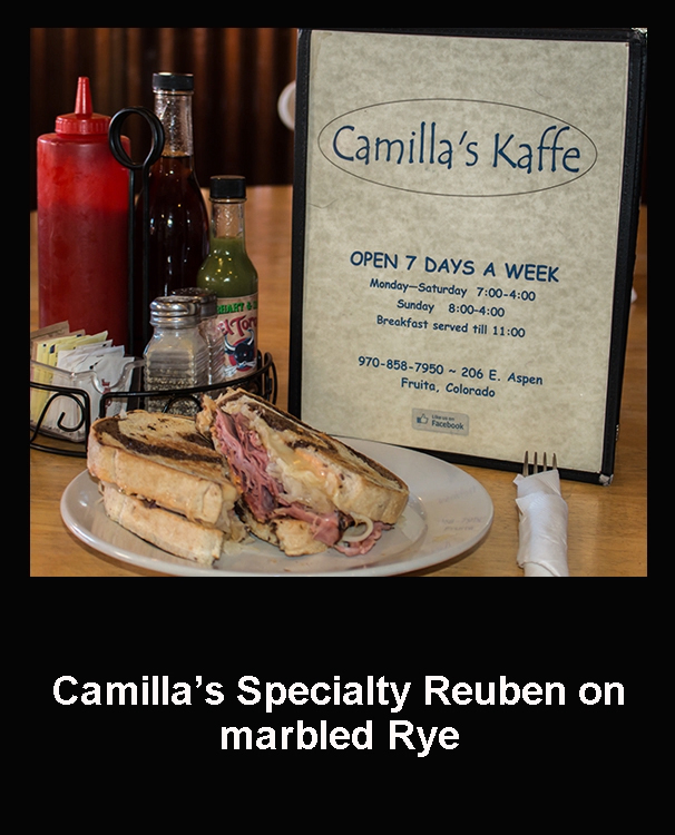 Grilled Reuben on marbled Rye bread with deliciously seasoned frenchfries at Camilla's Kaffe in Fruita, Colorado